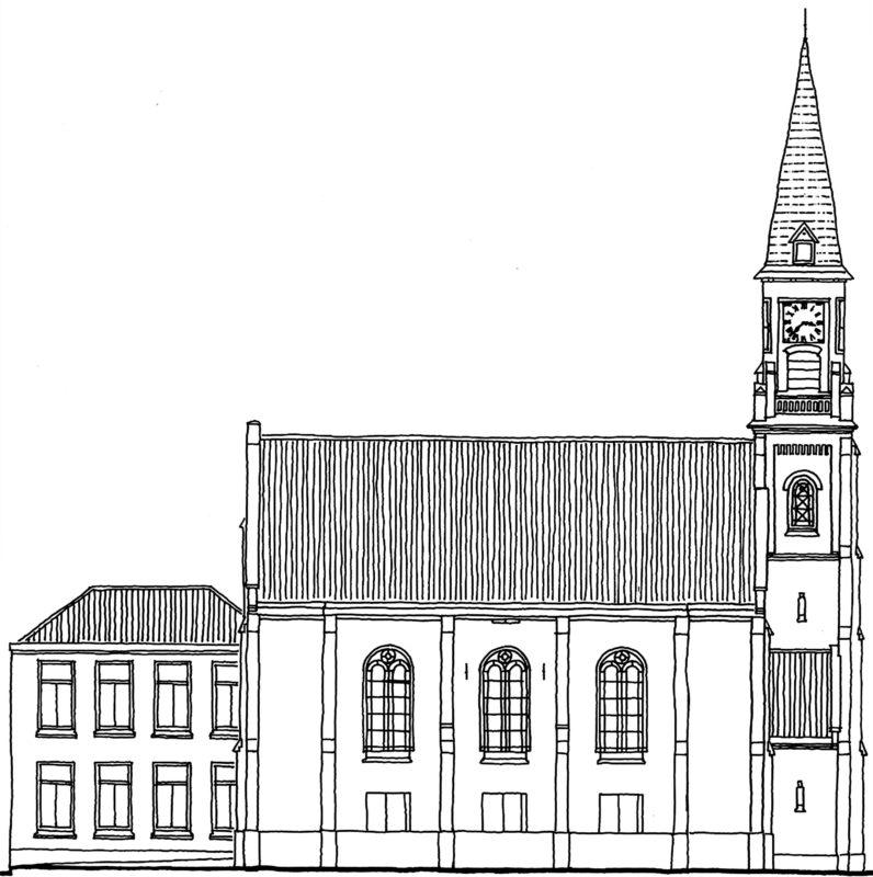 Tekening gevel pand Kerkstraat 9-10 Zanderijkerk Zaandijk