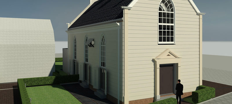 Tekening voorgevel het 'Kerkje van Evers' in Landsmeer gemaakt door  Hooyschuur architecten