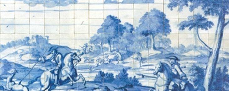 Detail tegeltableau met een hertenjacht