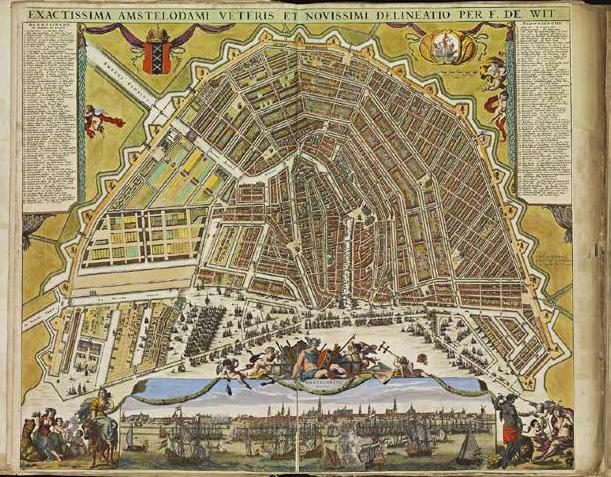 Stadswandeling 2020 oude kaart van Amsterdam