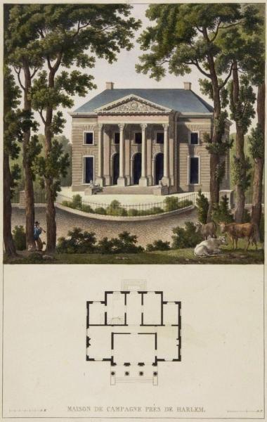 De prent uit circa 1825 met oudroze architraaf, P.J. Goetghebuer (NHA Beeldbank)