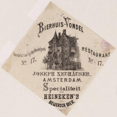 Bierhuis Vondel Prent 1854 1880