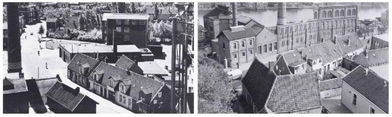 Voor- en achtergevel van de huisjes met er tegenover de gasfabriek. De twee arbeidershuisjes links zijn inmiddels gesloopt. Foto: Gemeentearchief Zaandam (jaren '60)