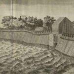 De diemerzeedijk bij de Ipenslotersluis, toen met palendijk tegen de zuiderzee. Prent uit 1702.