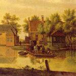 Haagsche Schouw met veerpont nabij Valkenburg 1774 door P.C. la Fargue (1729 – 1782).